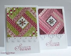 handmade Christmas cards ...  Quilt Squares by ceedee ... another great card for those scrap strips of pretty patterned papers ... luv them!