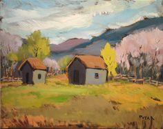 Barn in Vermont Original Acrylic Painting 16 x 20 by RussPotak