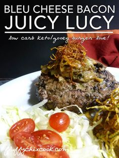 Bleu Cheese Bacon Juicy Lucy Recipe from Fluffy Chix Cook is a great low carb keto burger recipe.