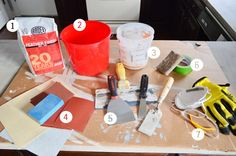 Trying Our Hand At Ardex Concrete Counters   Young House Love____ http://www.apartmenttherapy.com/a-cheap-fix-diy-concretefinish-floors-walls-countertops-202922