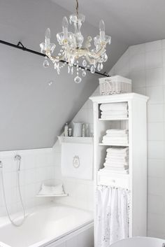 Sweet Shabby White Bathroom | Save Water & Money with Every Flush!™ | https://ToiletSaver.com | Toilet Saver is a simple, inexpensive, ingenious product that reduces the amount of water and money that toilets waste with every flush. | Installs in minutes & does not affect the flush! | Less than $4 per toilet!