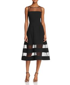 Aidan Aidan Illusion Fit-and-Flare Dress   Bloomingdales's