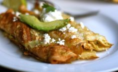 Grain-free chicken enchiladas with green sauce! SCD and Primal legal, and Paleo if you omit the cheese!