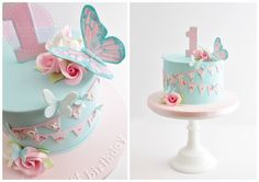 Cute Butterfly 1st Birthday Cake by The Marbeca Bakery