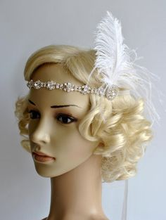 Crystal Rhinestone Headband Headpiece 1920s by BlueSkyHorizons