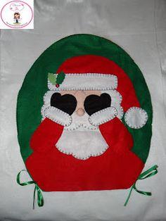 Psicoarte da Tati: Capa de Papai Noel Para Tampa de Vaso Sanitário