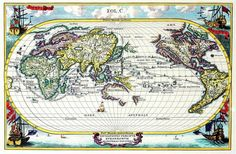 Elongated single globe map with Asia on the left; N. America on the right.