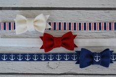 Nautical Set of Three Elastic Headbands for Women, Girls and Babies