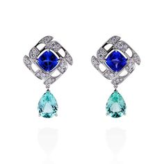 a1f8ba835 Boodles Prism tanzanite and green beryl earrings with diamonds Jewelry For  Her, Fine Jewelry,