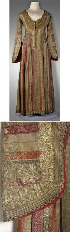 'Entari' (robe).  Ottoman, 18th century. This looks Greek in the very feminine design ! The sleeves are beautifully decorated with the typical overlaid embroidery in Gold. edged with gold woven ribbons.(Pharyah)