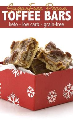 Keto Pecan Toffee Bars! Melt in your mouth shortbread crust with a sweet sugar free toffee and pecan topping. These are the best low carb treats for the holidays. #ketorecipes #ketodesserts #lowcarbrecipes #sugarfreerecipes #pecans #toffee #shorbread via @dreamaboutfood