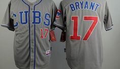 """$35.00 at """"MaryJersey""""(maryjerseyelway@gmail.com) Chicago Cubs 17 Kris Bryant Grey Cool Base Stitched Baseball Jersey"""