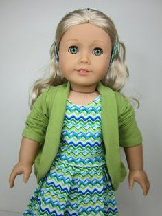 American girl doll clothes-   Green   slouch cardigan.