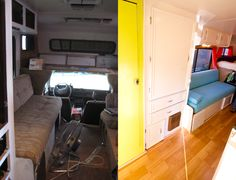 Great before and after! 1986 Toyota Dolphin RV Remodel