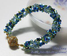 Dimensional Glittering Flowers Bracelet | AllFreeJewelryMaking.com
