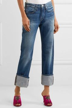 FRAME - Le Oversized Cuff High-rise Straight-leg Jeans - Blue - 28