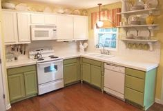 Painting Oak Cabinets White and Gray (or Green) - Remodelaholic
