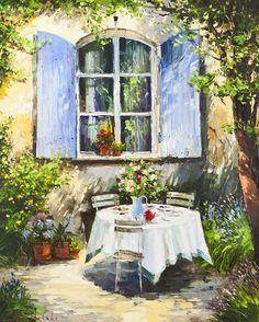 Blue Shutters by Gleb Goloubetski, Oil on Canvas, 100cmx80cm