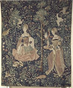 Embroidery (La broderie). La Vie seigneuriale: 1 of 6 tapestries depicting idealized manorial life. Low Countries, c. 1500. Paris, Musée de Cluny. Cl. 2181.