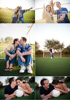 university of florida and florida state university themed engagement portraits