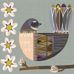 Folk Fantail by Jane Galloway. Wall Art print from The Little Art Gallery, Tairua, Coromandel, NZ Bird Prints, Wall Art Prints, Fine Art Prints, Sunflower Drawing, Contemporary Artwork, Bird Art, Folk Art, Original Artwork, Art Projects