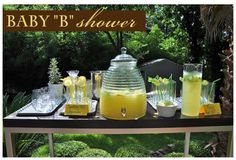 Bumble Bee Baby Shower Wonder where the heck they found this glass juice holder!!!!! Love it