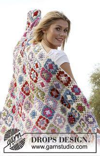"Crochet DROPS blanket with granny squares in ""Merino Extra Fine"". ~ DROPS Design"