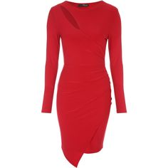 Red Slash Neck Asymmetric Wrap Dress ($43) ❤ liked on Polyvore featuring dresses, boat neckline dress, body conscious dress, asymmetrical dress, red bodycon dress and red wrap dress