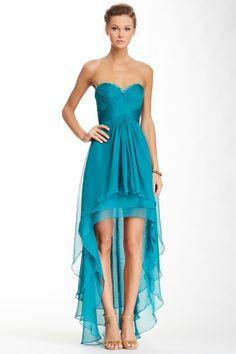 Pleated Beaded Bodice Hi-Lo Dress by La Femme on @HauteLook