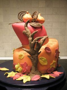 Autumn Cake with Pumpkins and Fallen Leaves