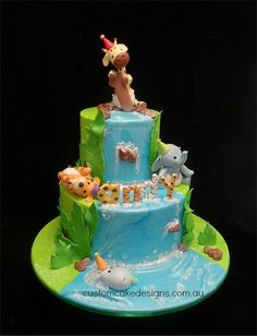 Baby Jungle Animals 1st Birthday Cake
