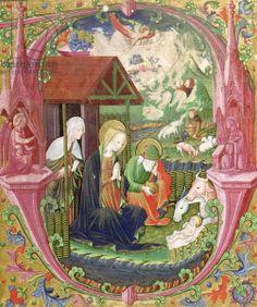 The Nativity, Northern Italian School (vellum), Italian School, 5th century (Musee Bonnat, Bayonne, France, Giraudon, The Bridgeman Art Library)