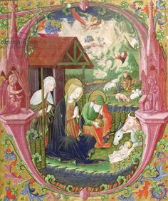 The Nativity, Northern Italian School (vellum), Italian School, (15th century) / Musee Bonnat, Bayonne, France / Giraudon / The Bridgeman Art Library
