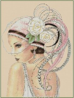Cross Stitch Chart ART DECO LADY WITH PINK FEATHER HAT No. 1-4a (Large Print) | eBay
