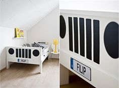Ikea Vikare Bed into a jeep.  Cut out shapes from contact paper and add a personalized license plate.