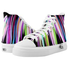 Rainbow Scribble High-Top Sneakers 20% off and 50% off express shipping  #leatherwooddesign www.leatherwooddesign.com
