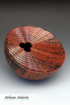 One of a series that explores a variety of shapes, patterns and natural wood color, this Wave Theory Vessel features geometric waves that eminate from a square opening across a planar surface. Wave Theory, Turned Wood, Wood Stone, Stone Sculpture, Woodturning, Wood Texture, Wood Colors, Wood Working, Wood Art