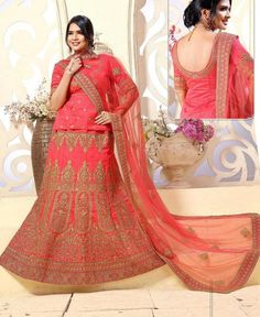 Pink Colored Banglori Silk Heavy Embroidered Hand Work Semi Stitched Lehenga Cholis #bridallenghacholi #designerlehengacholi #weddingghagracholi now available at ladyindia.com
