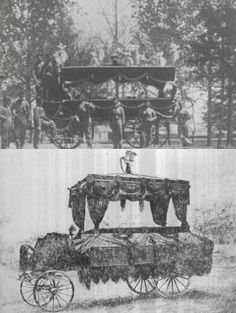 a couple of the hearses which were employed in the funeral procession of Abe Lincoln.
