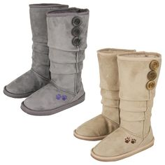 The air turns crisp and the leaves start to change color -- a sure sign that boot weather is right around the corner. Emblazoned with pair of purple paws our fashionable slouch boots have you covered in style.