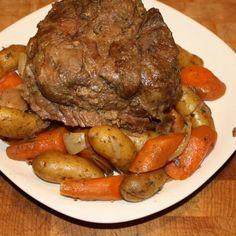 Crock-Pot Beef Roast Recipe: frozen low w/ broth night before, 8 hours