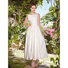 Lan Ting A-line/Princess Plus Sizes Wedding Dress - Ivory Ankle-length Scoop Satin – USD $ 119.99