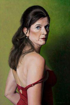 Lambert - 'Portrait of Jacqueline', 2015. Oil on panel, 40 x 60 cm