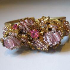 Miriam Haskell pink rhinestone bracelet