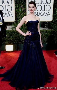 anne hathaway red carpet dress 2008 - Golden Globes in a navy blue Armani Prive dress.