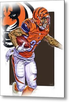 Jeremy Hill Metal Print featuring the mixed media Jeremy Hill Cincinnati Bengals Oil Art by Joe Hamilton