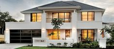 apg Homes - Opus two storey display home facade Two Storey House Plans, 2 Storey House Design, Model House Plan, Dream House Plans, Concrete Patio Designs, Storey Homes, Display Homes, Land For Sale, Luxurious Bedrooms