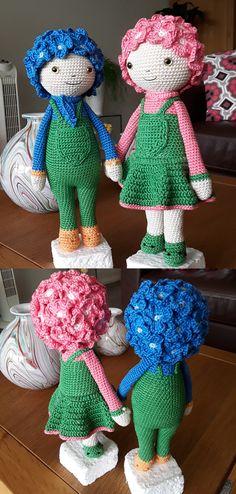 Hortensia Hank en Hannie (modification) bloemenpoppen gehaakt door Marijke K - haakpatroon van Zabbez