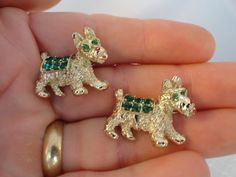 Vintage Scotty Dog Scatter Pins with Emerald by BBGIMAGINATIONS