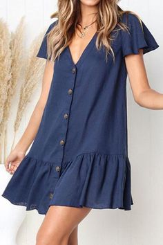 V-Ausschnitt Single Breasted Plain Kurzarm Mini Casual Kleider - Outfits Dresses For Teens, Simple Dresses, Cute Dresses, Short Sleeve Dresses, Dresses With Sleeves, Summer Dresses, Mini Dresses, Simple Dress Casual, Awesome Dresses